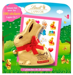 Le Lapin Or avec ses stickers Lindt 5.99€
